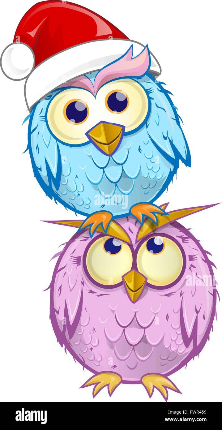 christmas group owl  cartoon isolated on white background - Stock Image