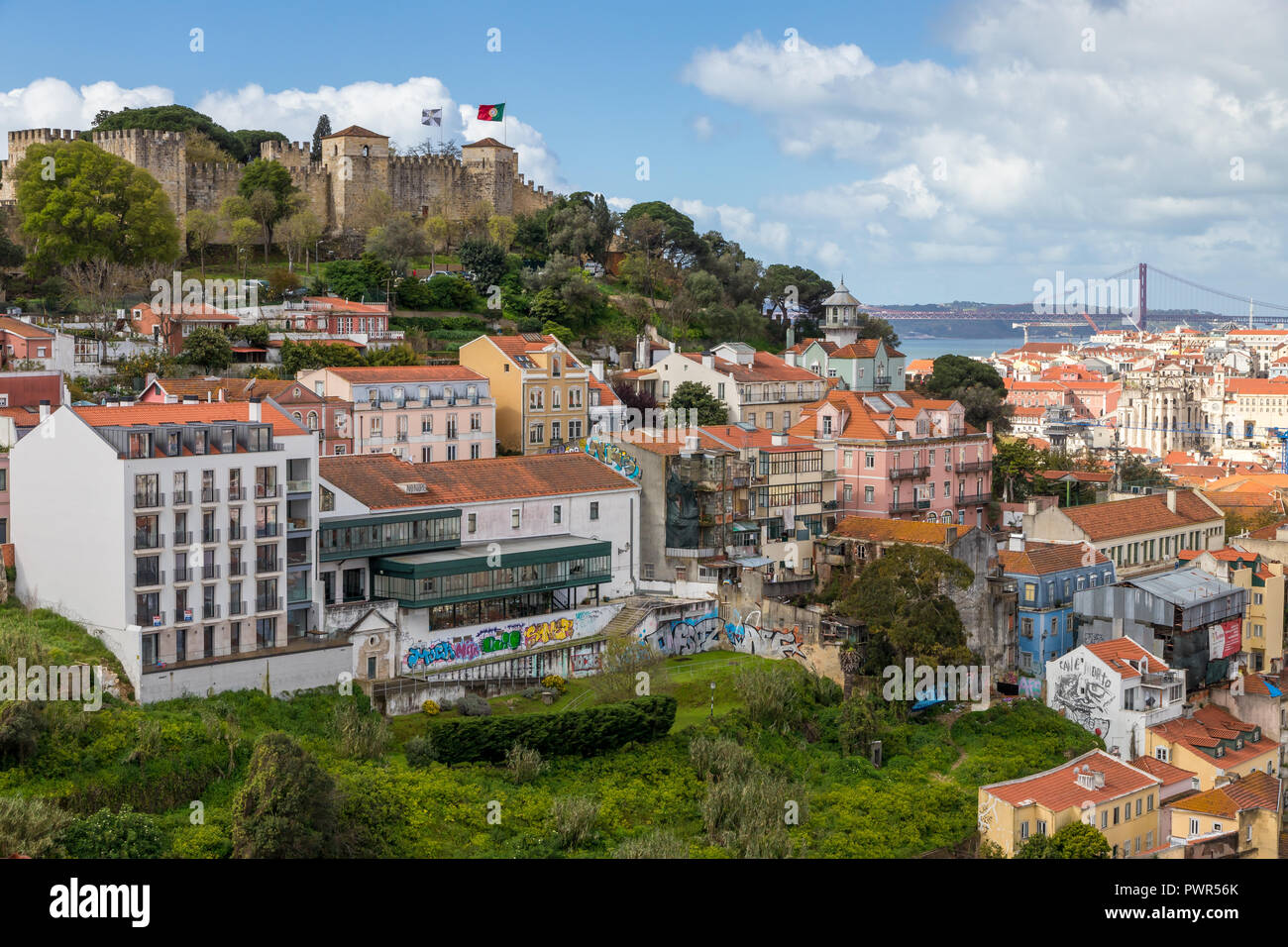 View from a lookout over the city centre and the Saint George castle in the background, Lisbon, Portugal, Europe - Stock Image