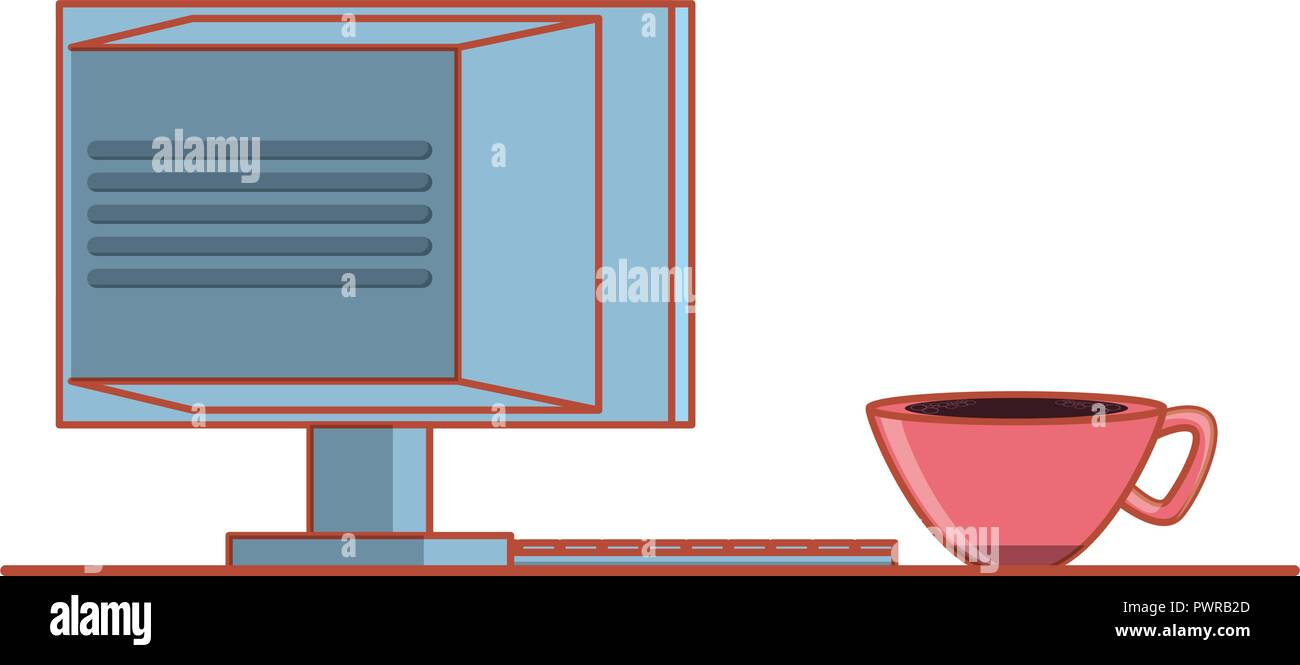 computer monitor with cup coffee isolated icon vector illustration design - Stock Image