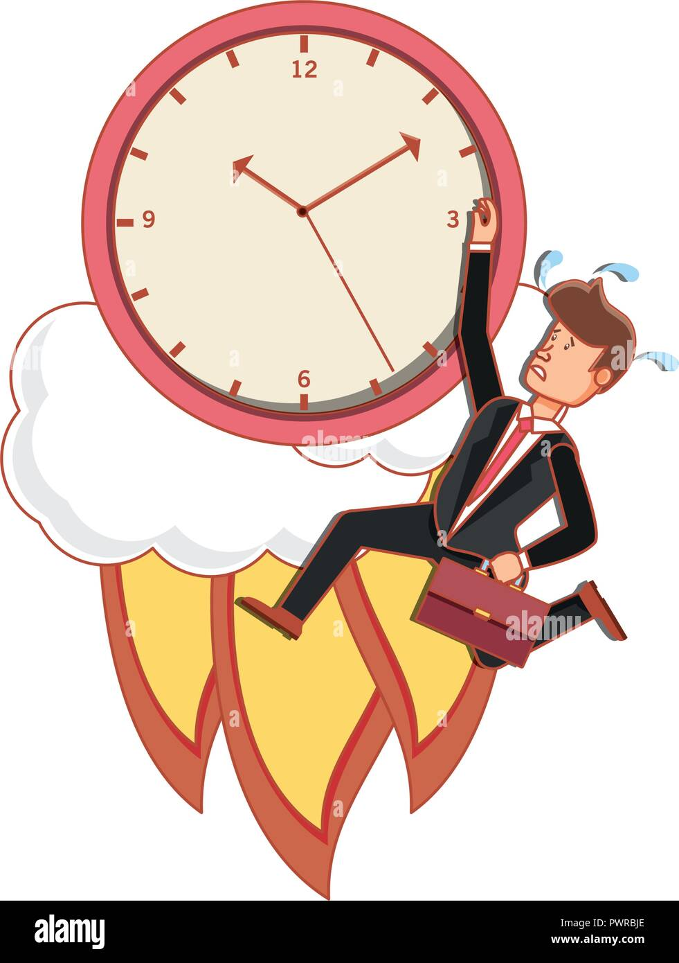 time clock launcher startup with businessman vector illustration design - Stock Image