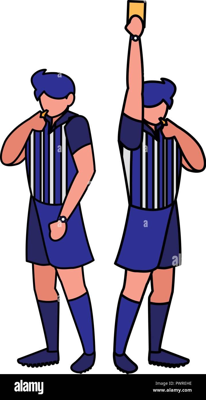 referee announcing foul play with a whistle over white background, vector illustration - Stock Image