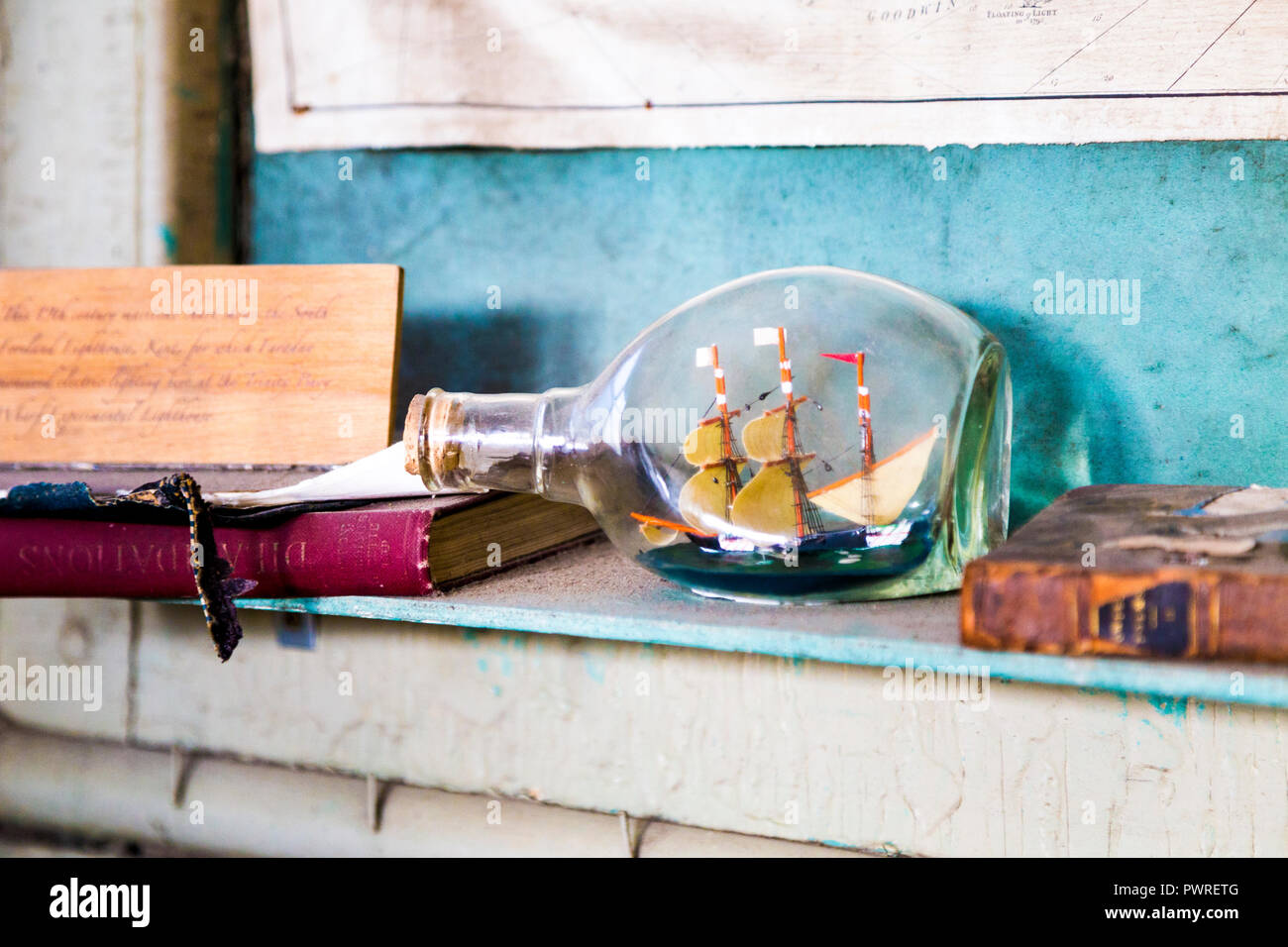 Interior of The Faraday Effect, smallest museum in London that documents the life and times of Michael Faraday, Trinity Buoy Wharf, London, UK - Stock Image