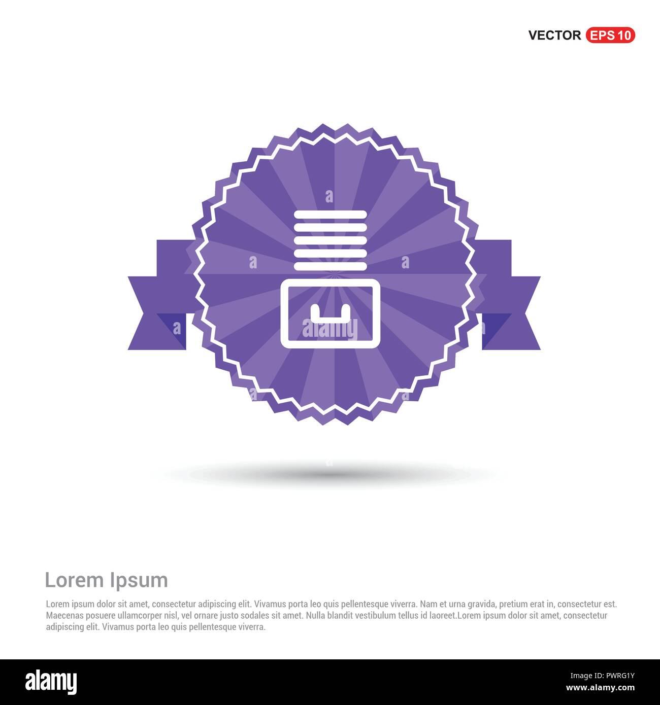 File Stack Icon - Purple Ribbon banner - Stock Image