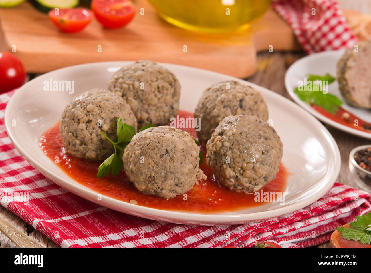 Meatballs with tomato sauce. - Stock Image