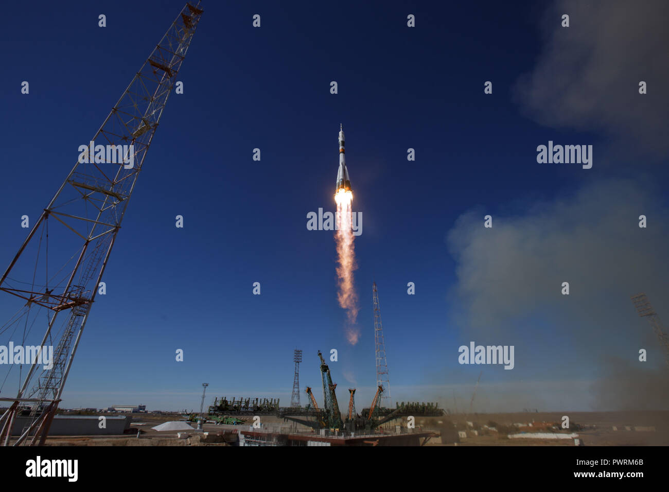 The Soyuz MS-10 spacecraft is launched with Expedition 57 Flight Engineer Nick Hague of NASA and Flight Engineer Alexey Ovchinin of Roscosmos, Thursday, Oct. 11, 2018 at the Baikonur Cosmodrome in Kazakhstan.  During the Soyuz spacecraft's climb to orbit, an anomaly occurred, resulting in an abort downrange. The crew was quickly recovered and is in good condition. - Stock Image
