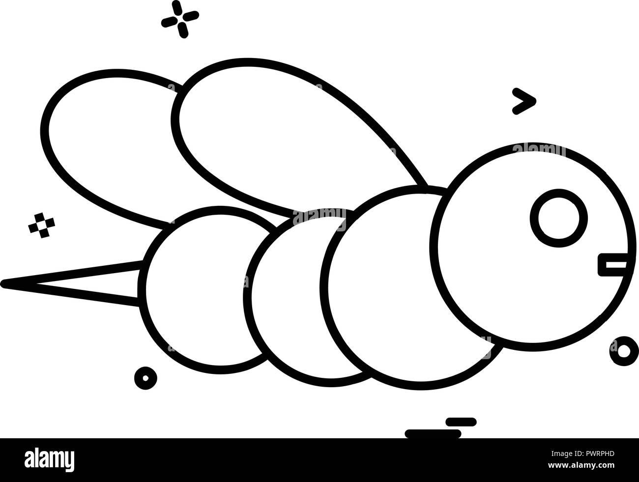 Honey bee icon design vector - Stock Image