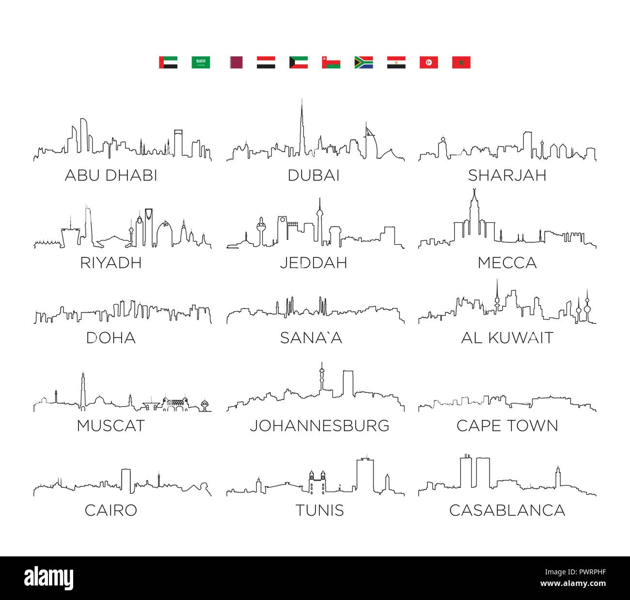 Arabian Peninsula and Africa skyline city line art, vector Illustration design set of vector city silhouettes - Stock Vector