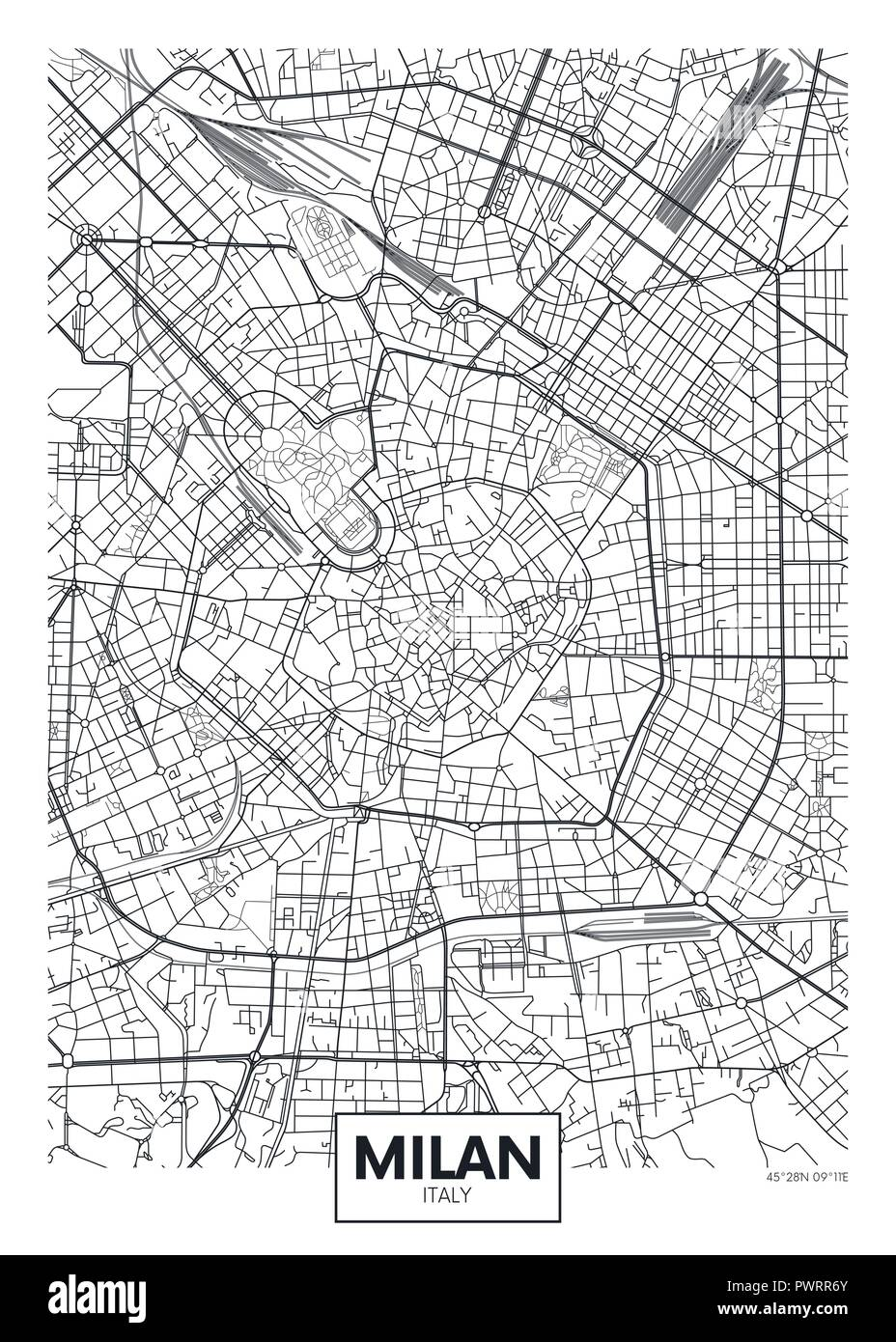 Detailed vector poster city map Milan detailed plan of the city, rivers and streets - Stock Vector