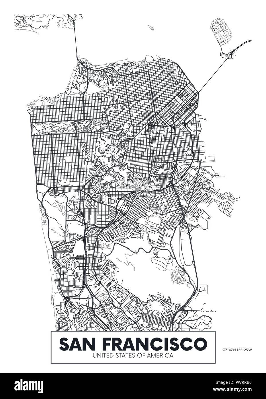 Vector poster map city San Francisco detailed plan of the ... on napa city street map, snohomish city street map, inglewood city street map, porterville city street map, irvine city street map, jackson city street map, new haven city street map, ithaca city street map, johannesburg city street map, springfield city street map, san pablo city street map, aurora city street map, tacoma city street map, austin city street map, wichita city street map, madison city street map, santa clara county street map, medford city street map, billings city street map, flagstaff city street map,