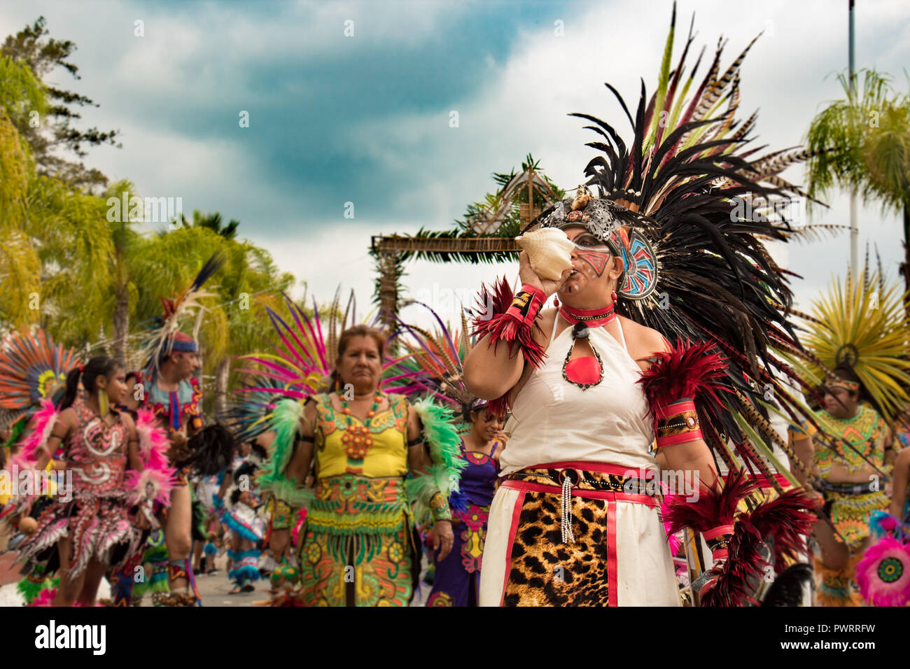 called snail, many indigenous plumes in parade and celebration of the virgin zapopan in chapala - Stock Image