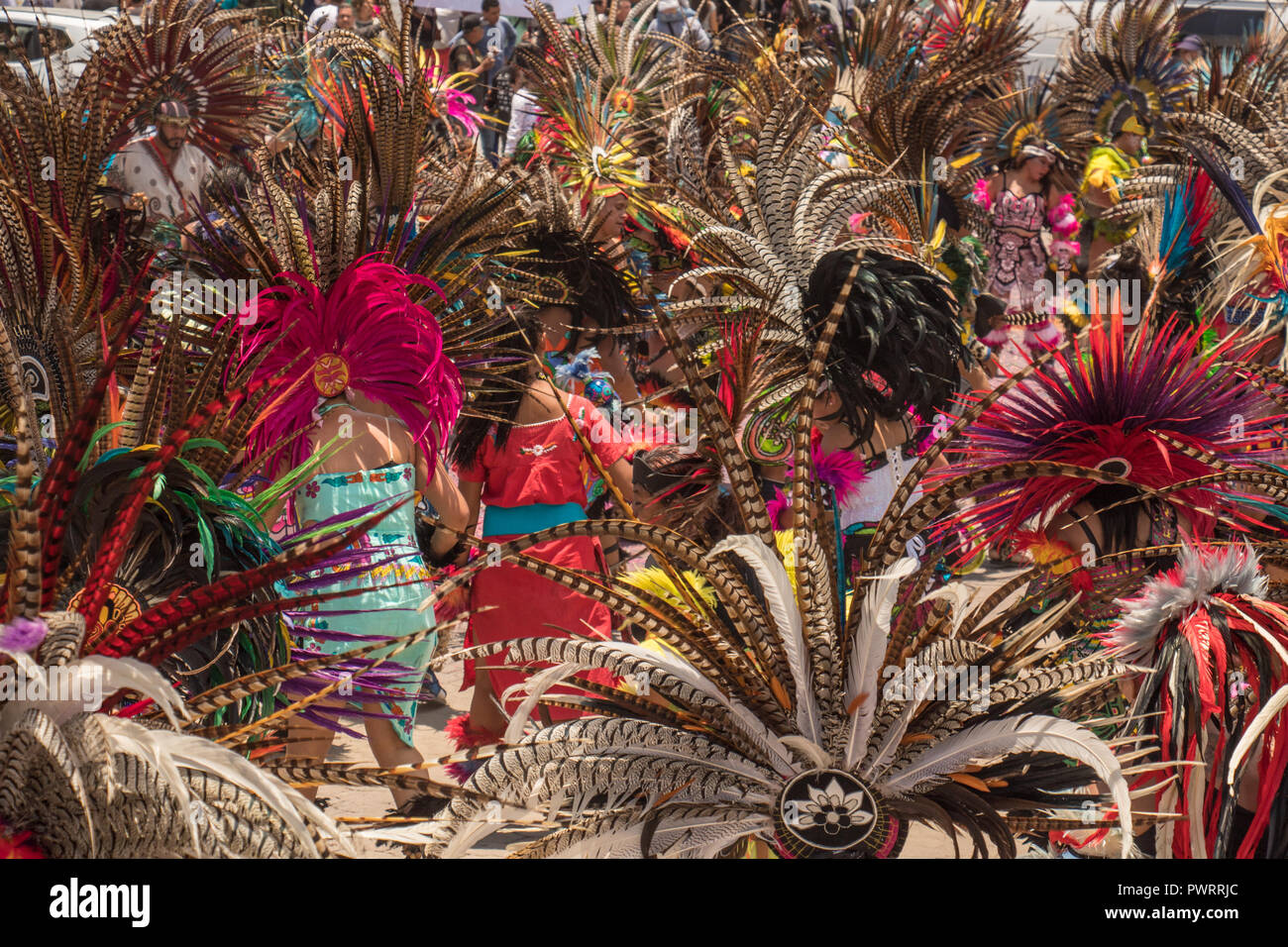Multitude of indigenous plumes in parade and celebration to the virgin of zapopan in chapala - Stock Image