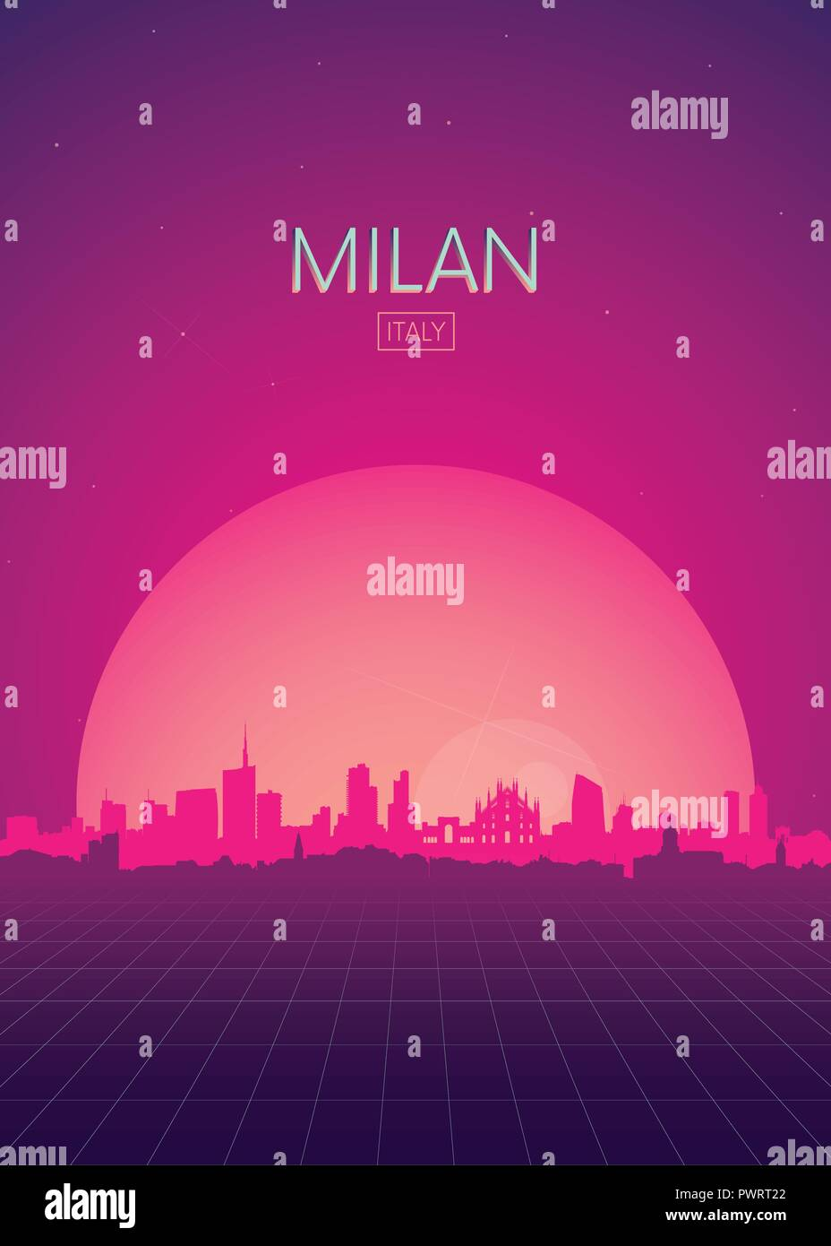 Travel poster vectors illustrations, Futuristic retro skyline Milan template for your design - Stock Vector