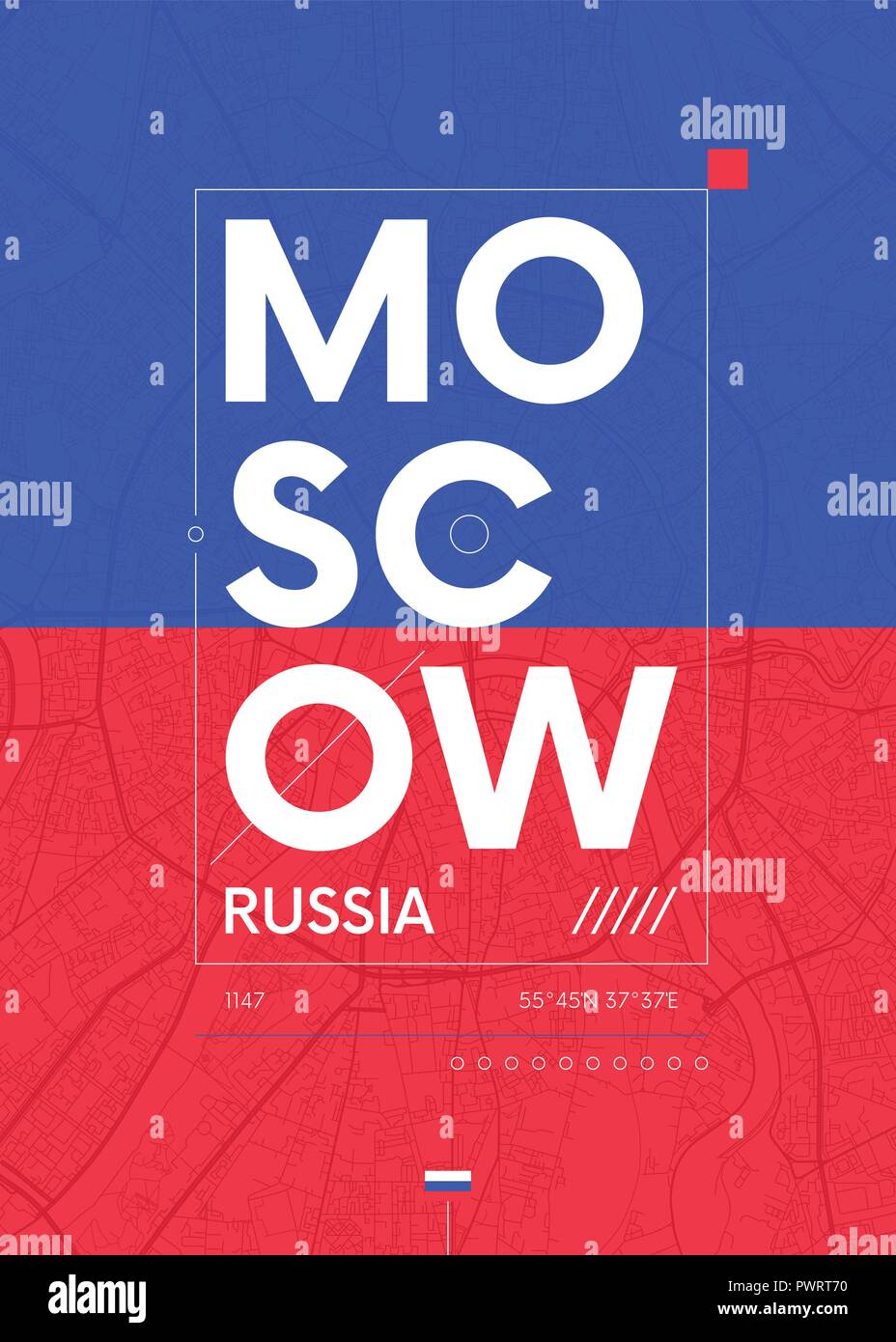 Typography graphics color poster with a map of Moscow, Vector travel illustration template for your design - Stock Vector