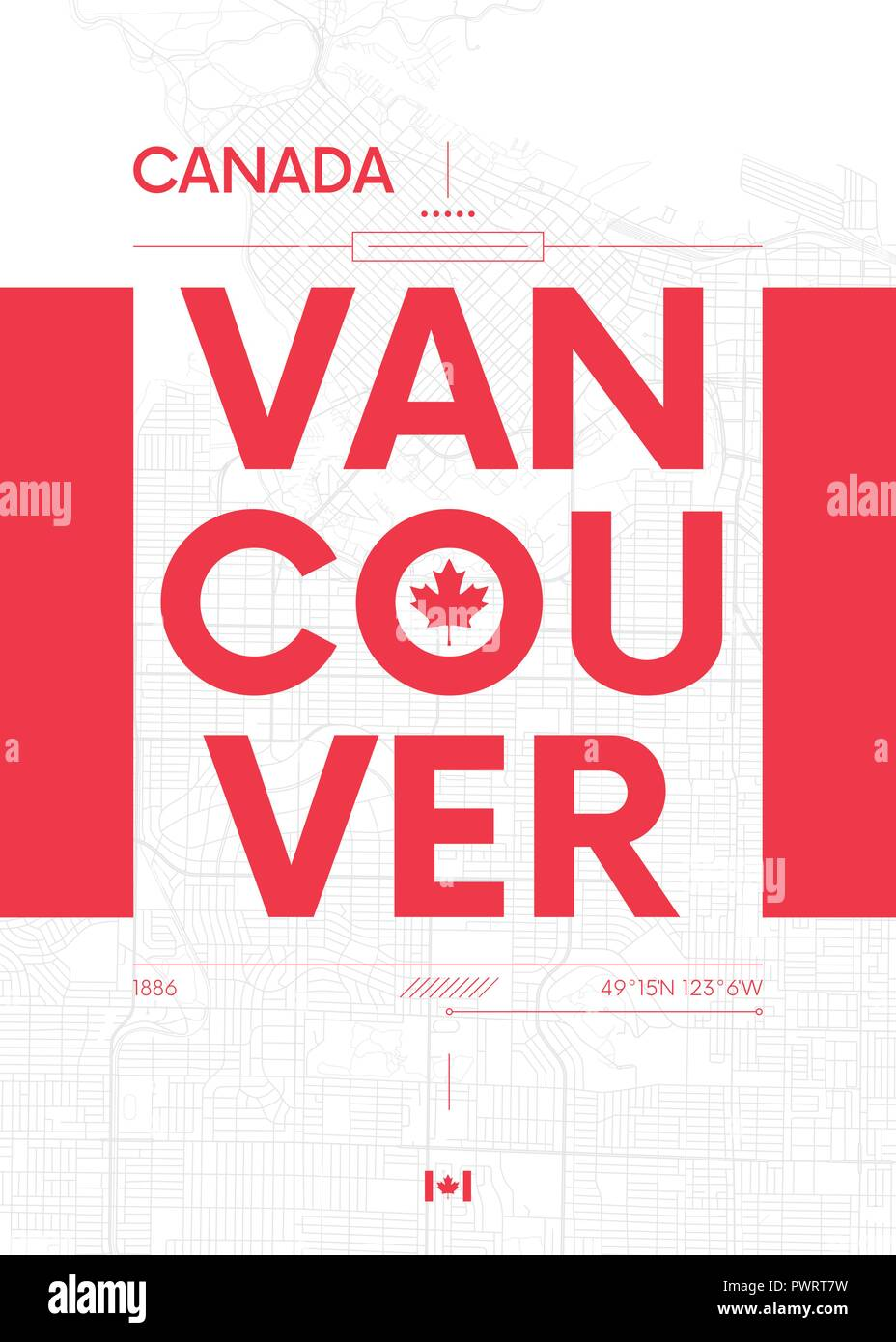 Typography Graphics Color Poster With A Map Of Vancouver Vector Travel Illustration Template For Your Design Stock Vector Image Art Alamy