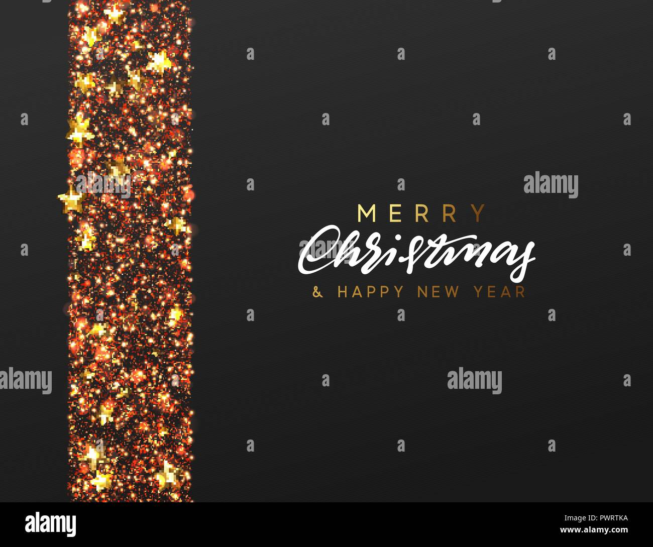 border made of stars and golden sparkle xmas greeting card vector happy new year