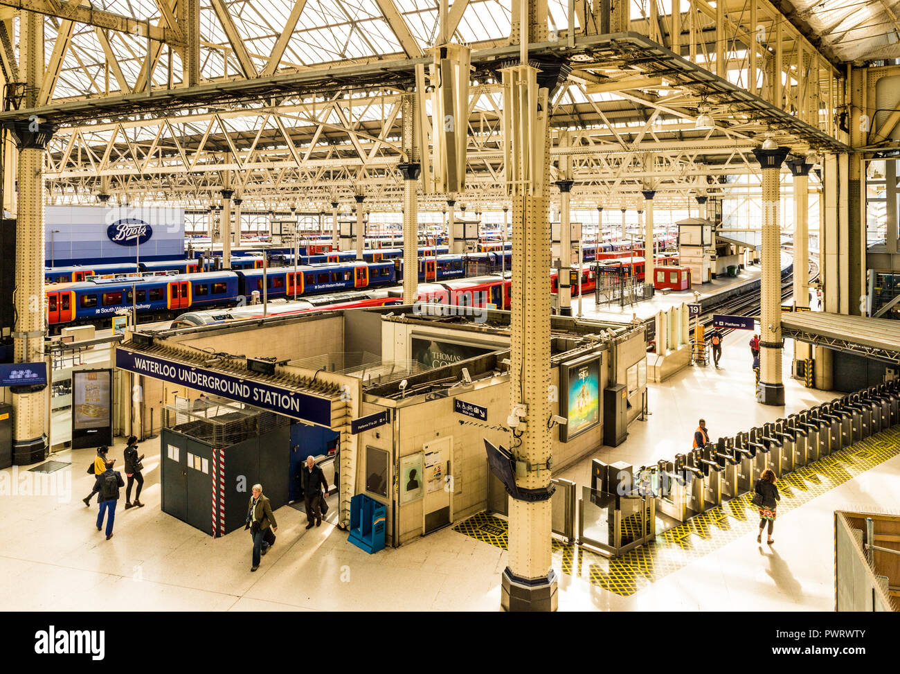 London October 2018. A view of Waterloo station in London. - Stock Image