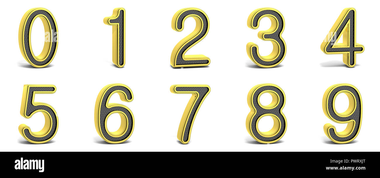 Golden and black round font numbers 3D render illustration isolated