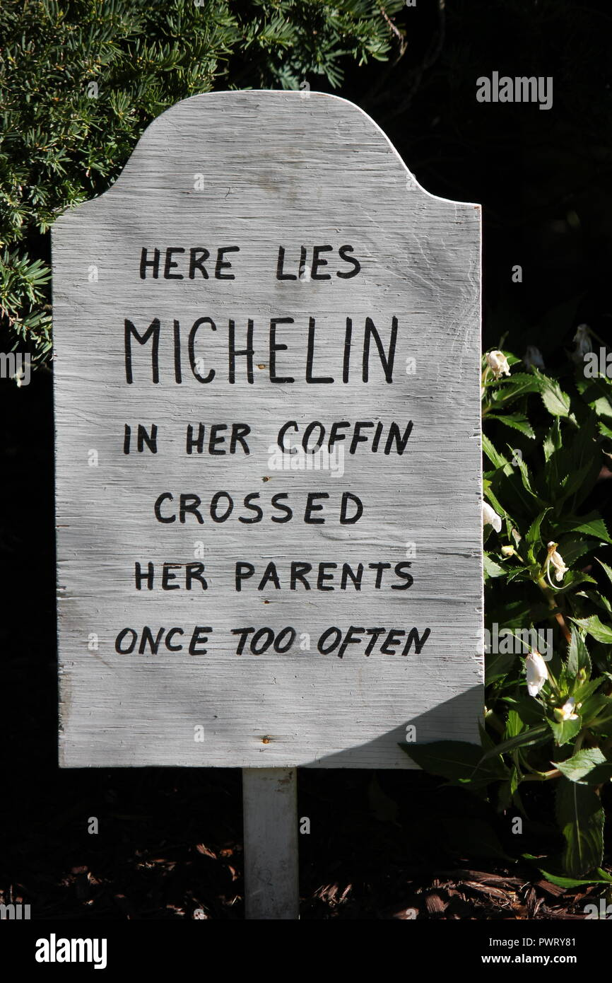 Handmade handwritten tombstone Halloween lawn decoration with a scary epitaph, 'Here lies Michelin in her coffin crossed her parents once too often' - Stock Image