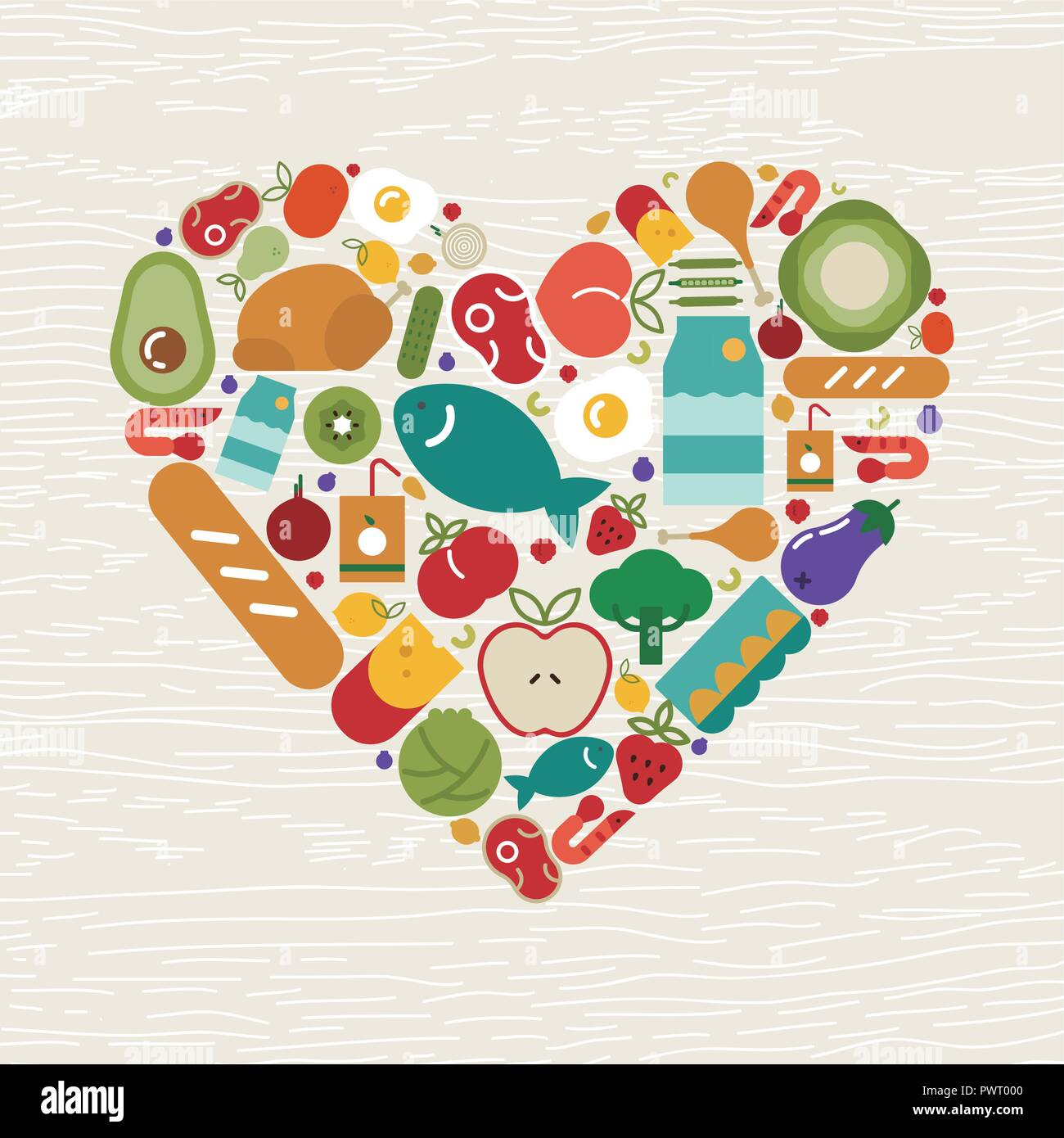 Food Icons Making Heart Shape For Healthy Eating Or Balanced Nutrition Concept Includes Fruit Vegetables Meat Bread And Dairy Stock Vector Image Art Alamy