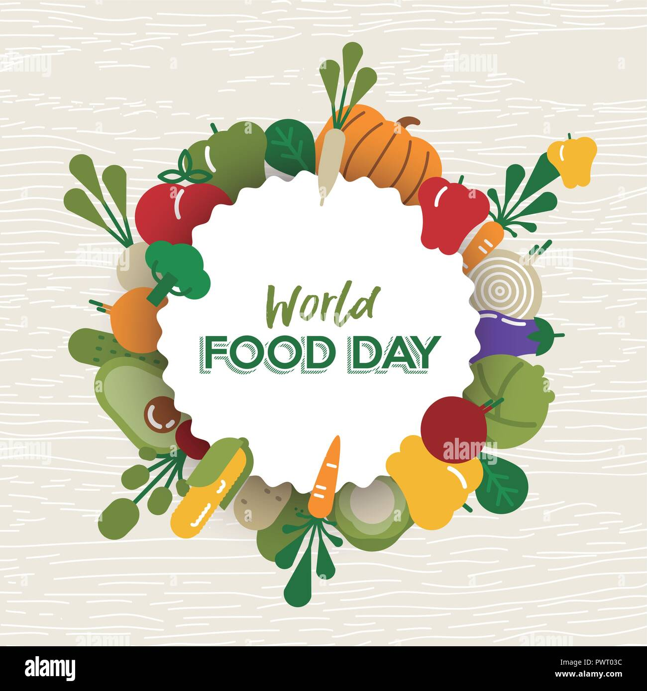 World Food Day greeting card illustration for nutrition and healthy diet with colorful flat cartoon vegetable icons. - Stock Image