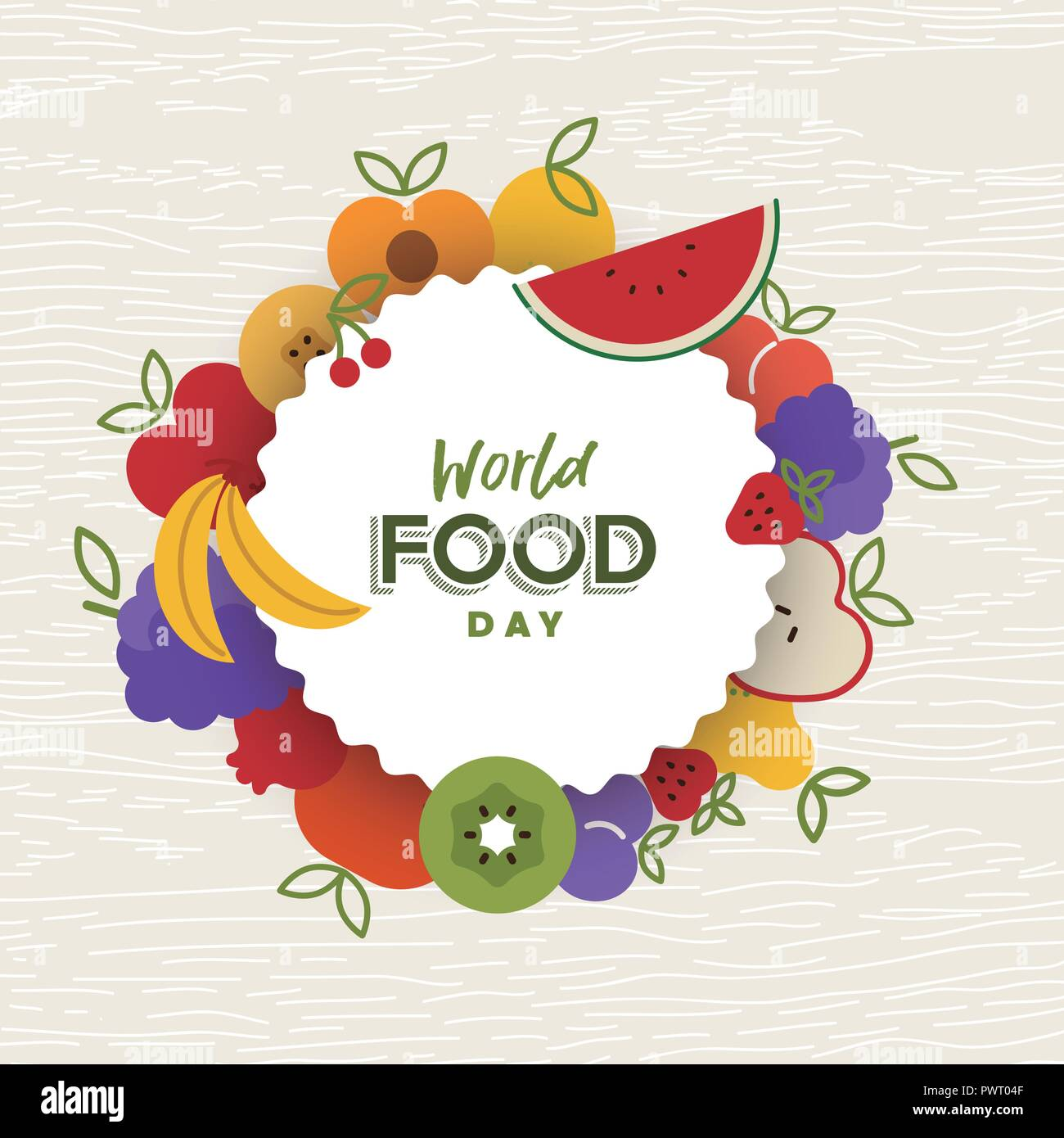 World Food Day greeting card illustration for nutrition and healthy diet with colorful flat cartoon fruit icons. - Stock Image