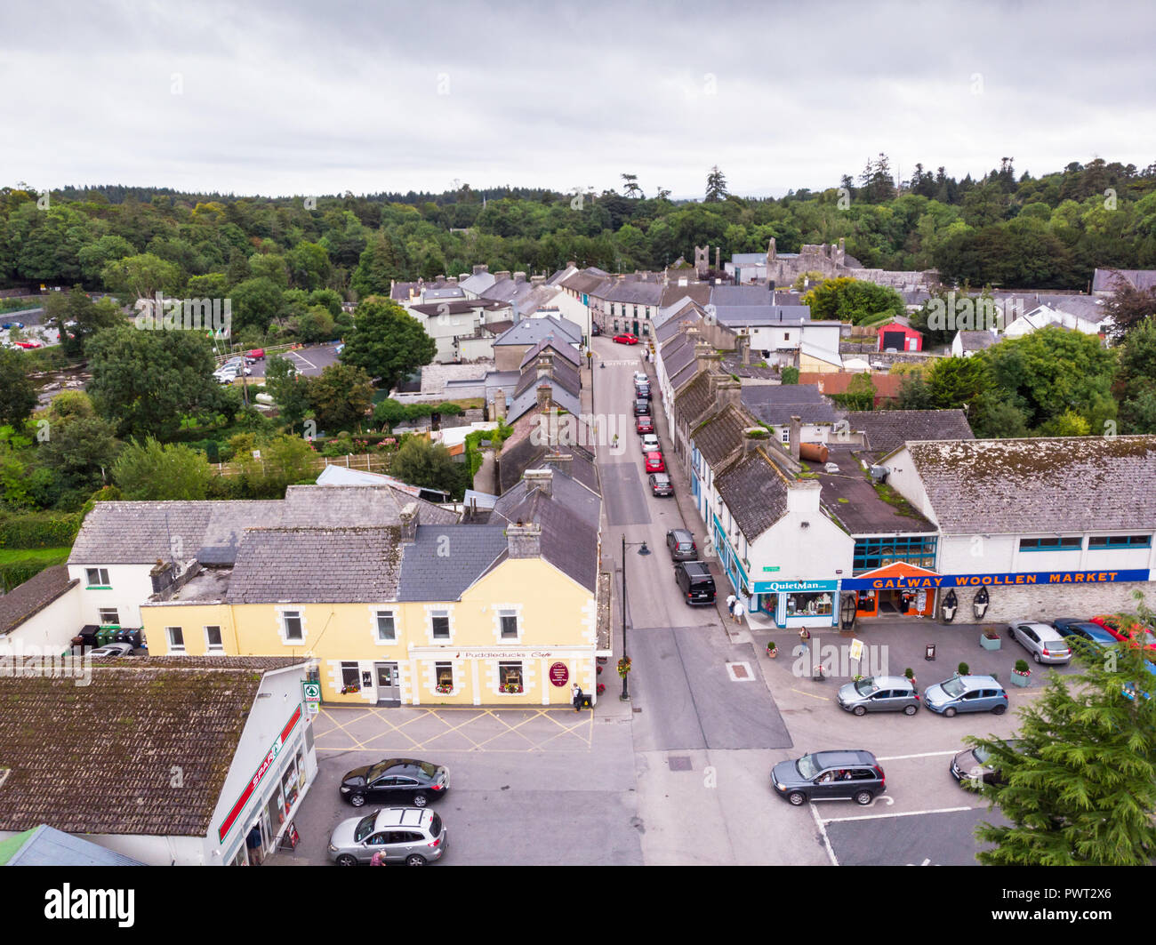 An aerial view of  Main Street in the picturesque village of Cong, straddling the  border of County Galway and County Stock Photo