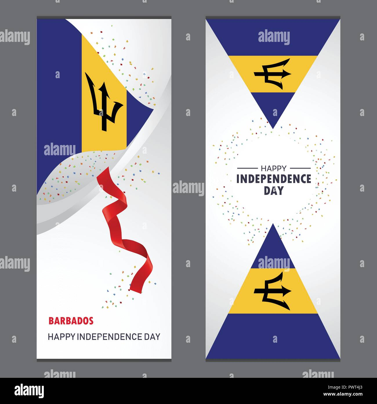 Barbados Happy independence day Confetti Celebration Background Vertical Banner set - Stock Vector