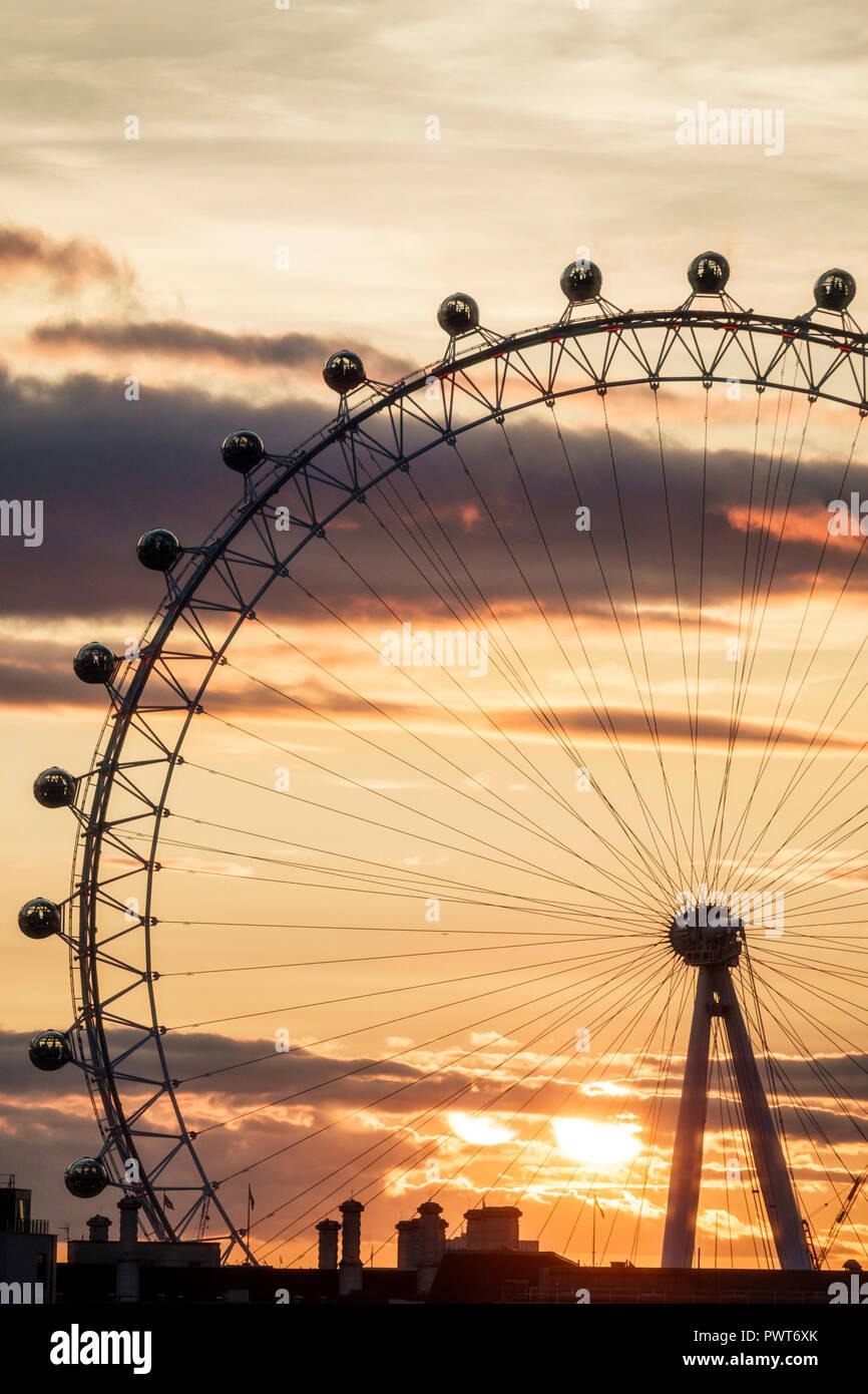 London England United Kingdom Great Britain Lambeth South Bank London Eye giant Ferris wheel observation wheel attraction Marks Barfield Architects su Stock Photo