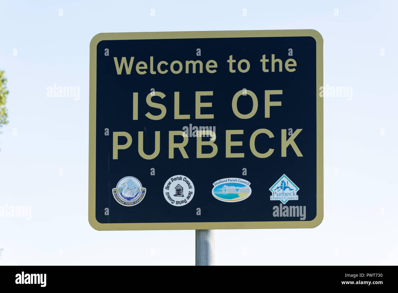 Welcome to the Isle of Purbeck sign, Wareham, Dorset, England, United Kingdom - Stock Image
