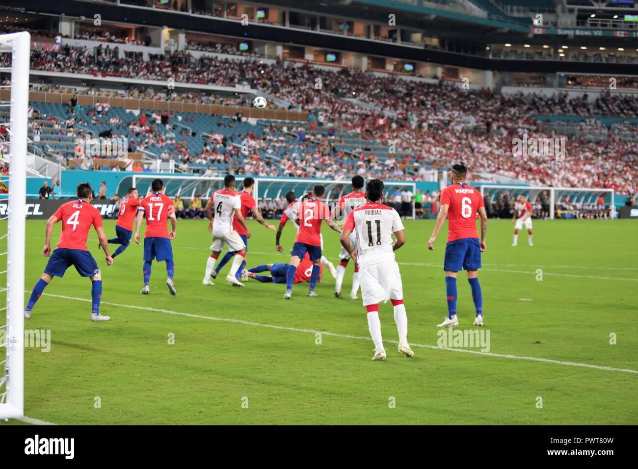 Miami, Florida. 12th Oct, 2018. SOCCER GAME, Chile vs Peru at Hard Rock Stadium in Miami, Florida. Oct 12, 2018. Peru won 3-0. - Stock Image