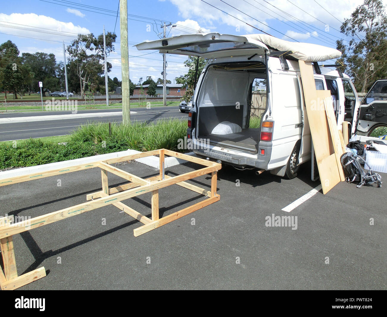 Construction Of A Bed Frame In A Campervan Stock Photo 222423996