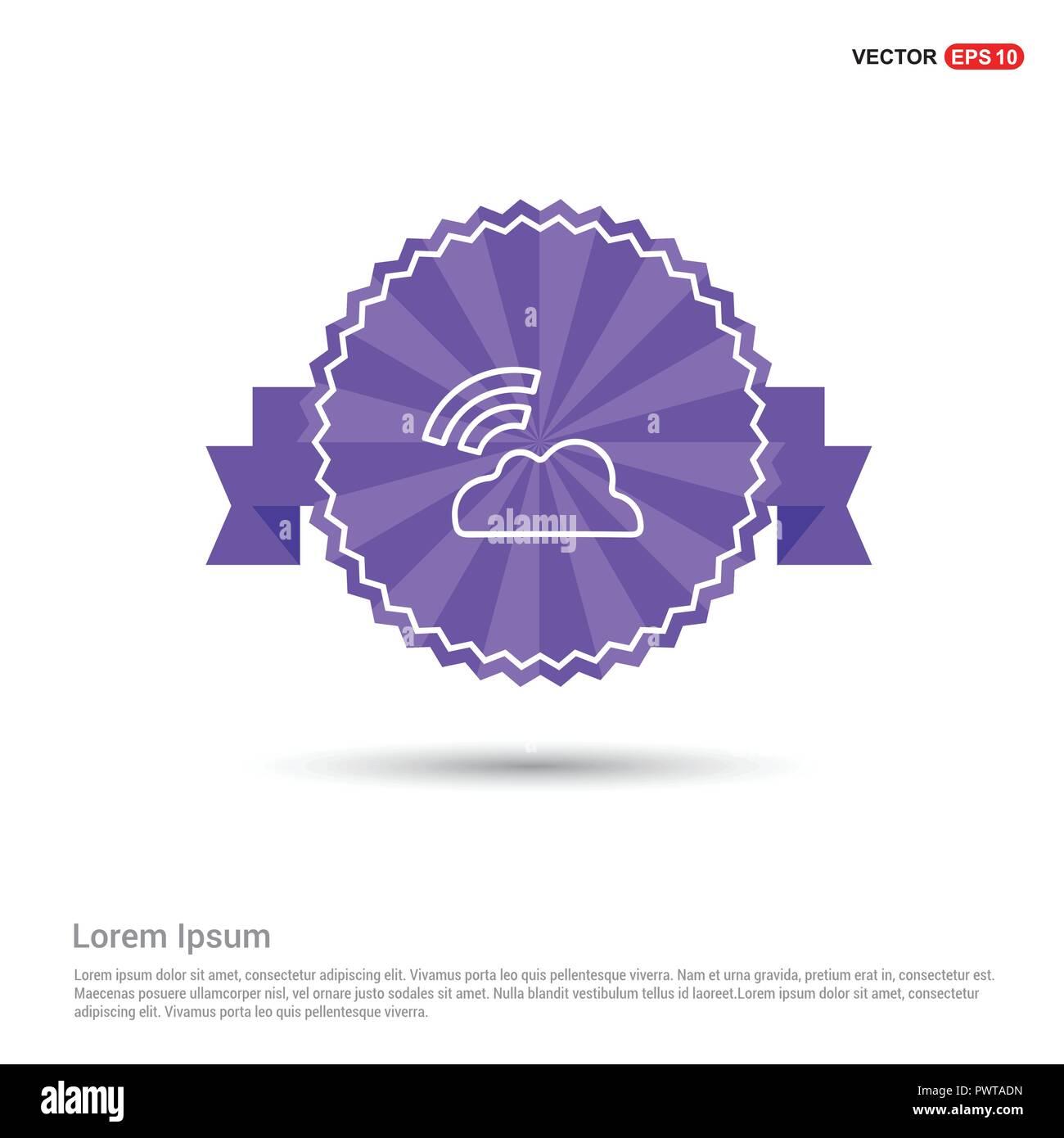 Wifi signal icon - Purple Ribbon banner - Stock Image