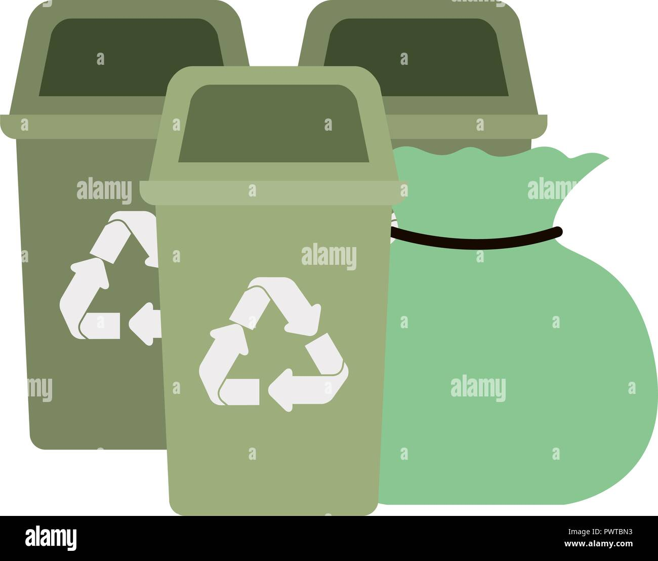 green recycling basket isolated icon - Stock Vector