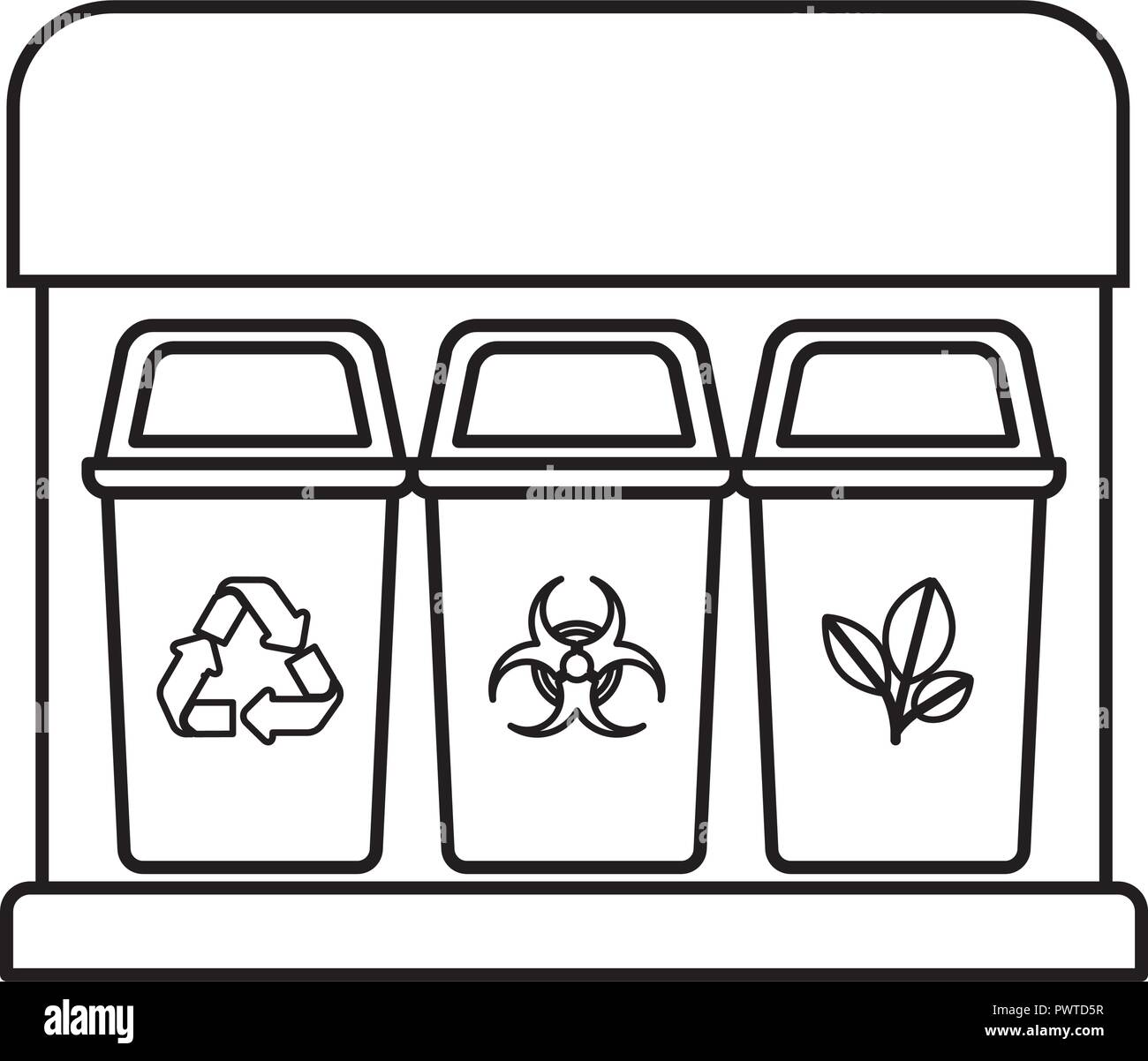 recycling baskets isolated icon - Stock Vector