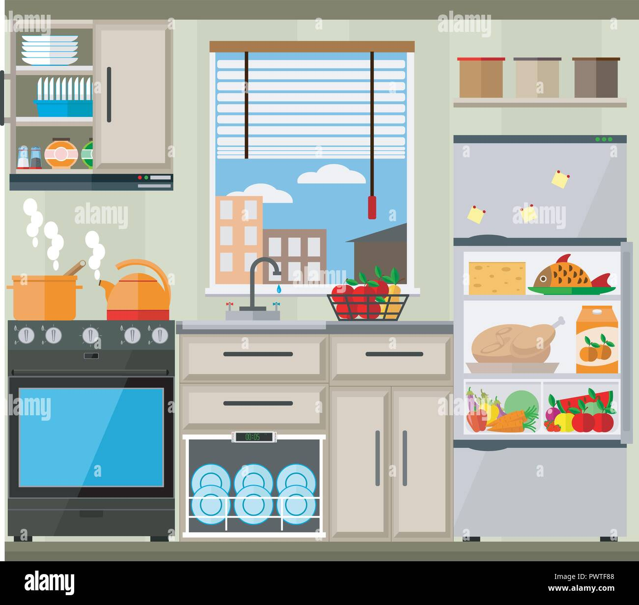 Bright Kitchen With Window Furniture Appliances And Kitchenware Vector Illustration Of Kitchen Set Stock Vector Image Art Alamy