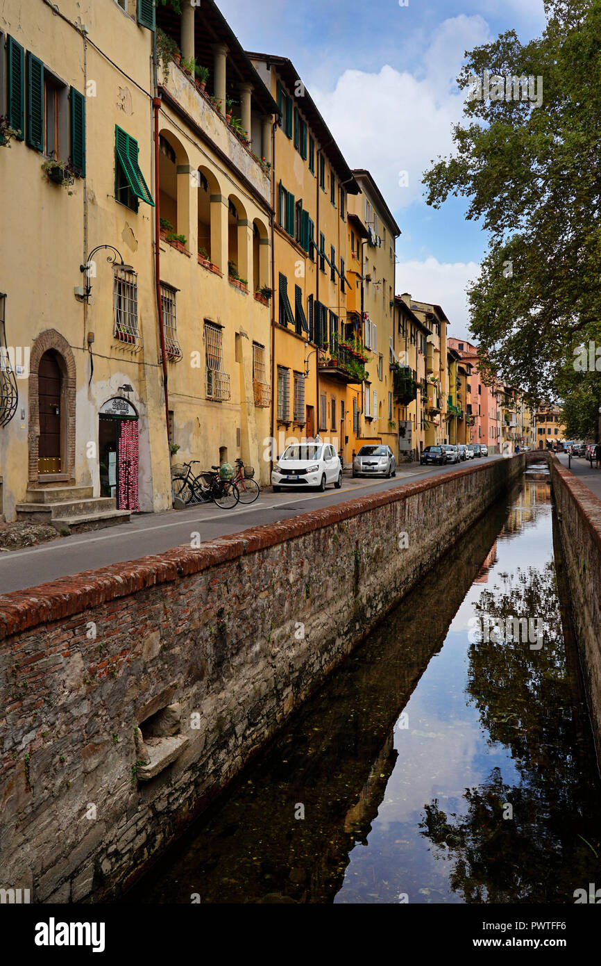 via de fuss water canal in Lucca,Tuscany,Italy,Europe - Stock Image