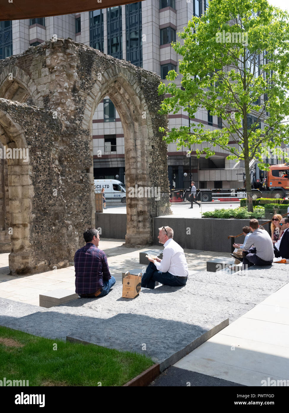 The ruins of St Alphage church on London Wall, reinstated during the redevelopment of the London wall in 2018 - Stock Image