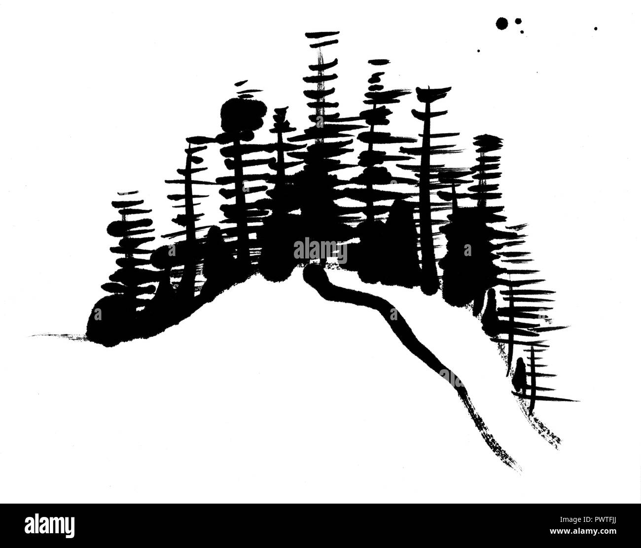 A black and white Chinese style ink painting, abstract trees made up by brush strokes, on a white background with copy space Stock Photo