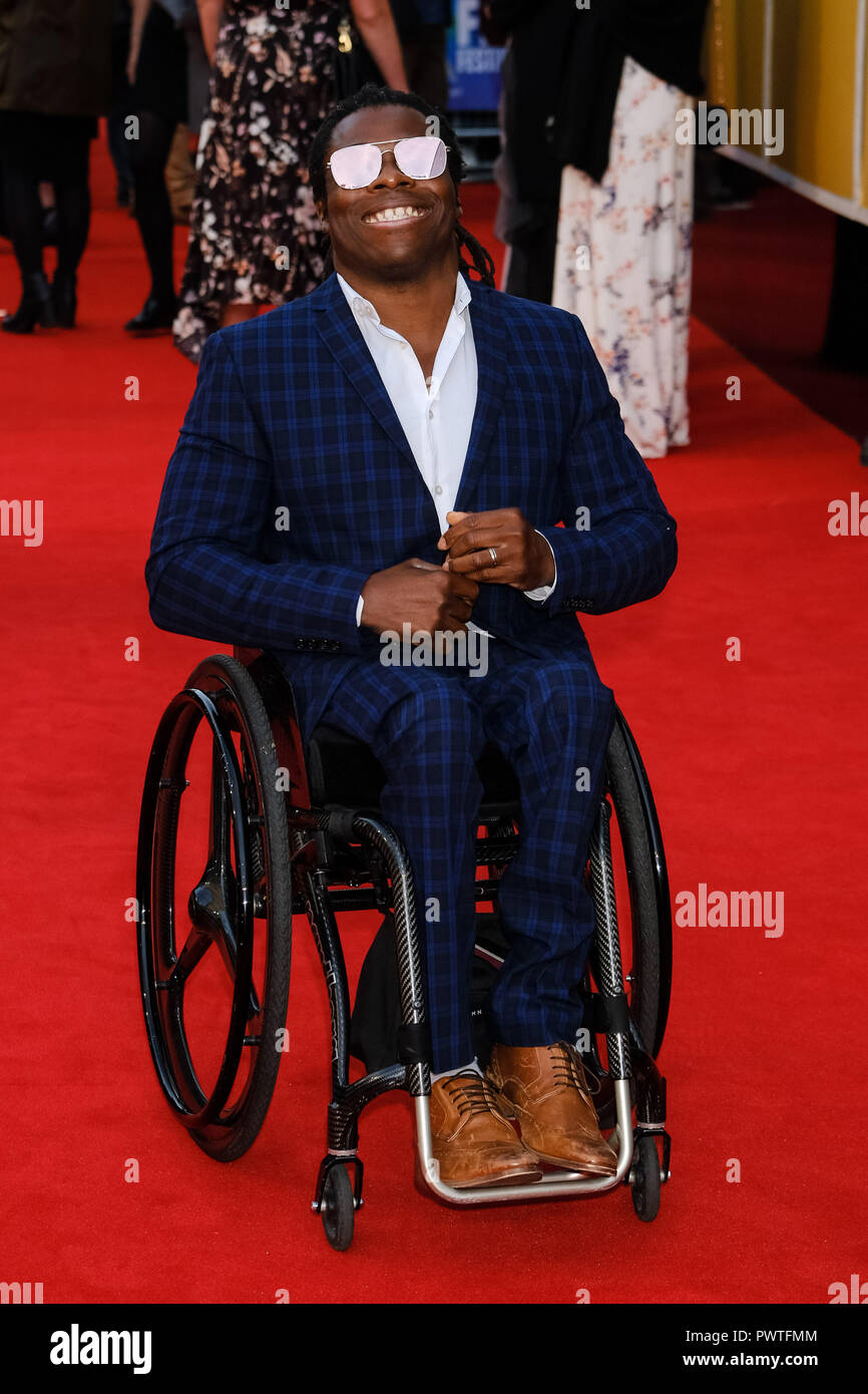 Ade Adepitan at the London Film Festival Screening of They Shall Not grow Old on Tuesday 16 October 2018 held at BFI Southbank, London. Pictured: Ade Adepitan. Picture by Julie Edwards. - Stock Image