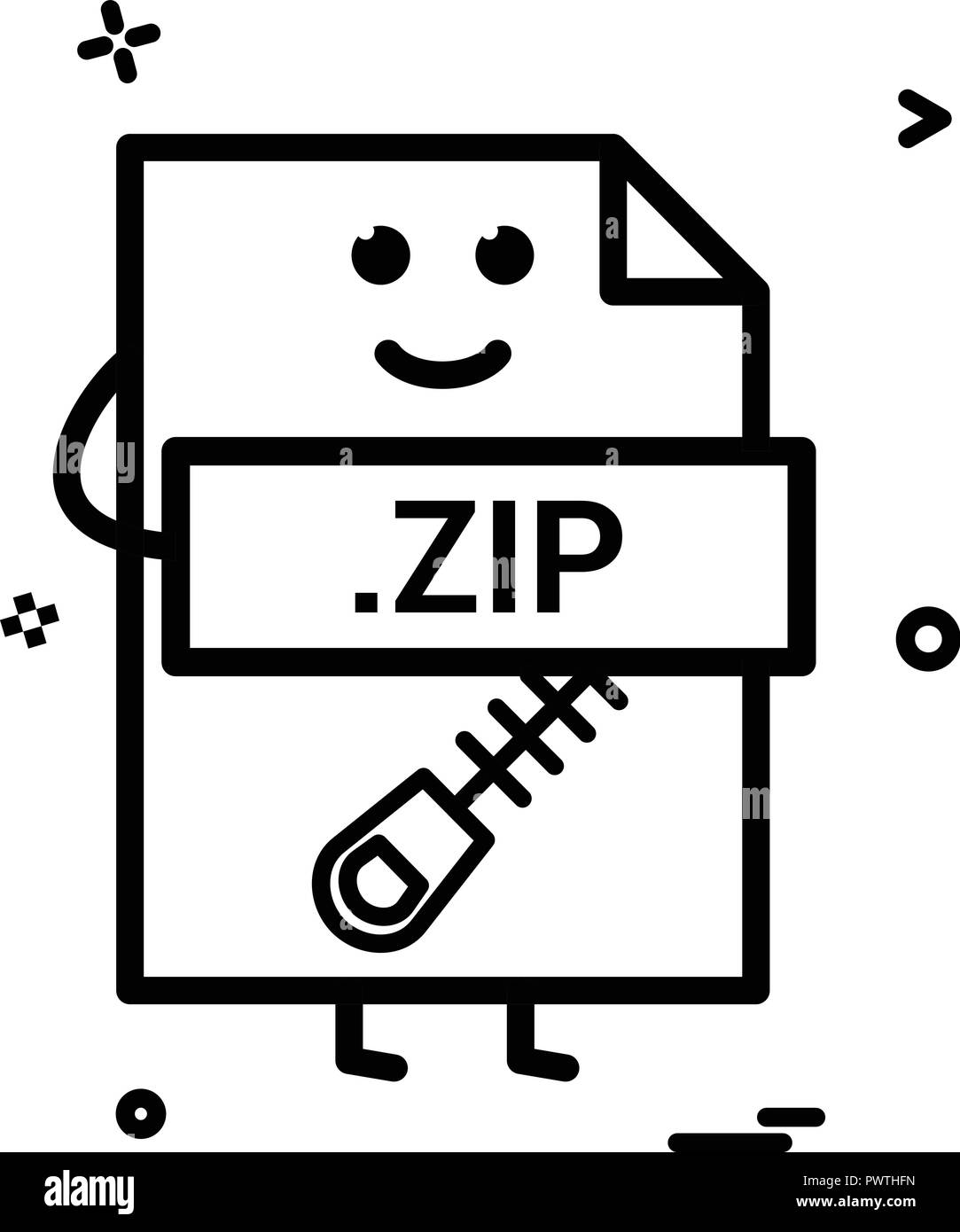 Computer zip file format type icon vector design Stock