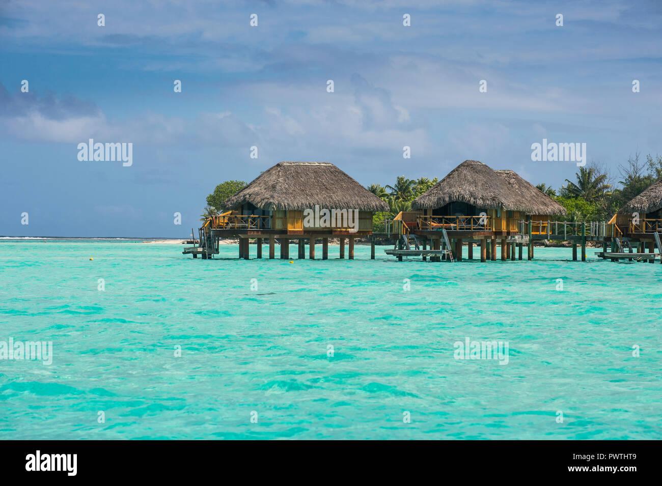 Overwater Bungalows On Stilts In Luxury Hotel Bora Bora