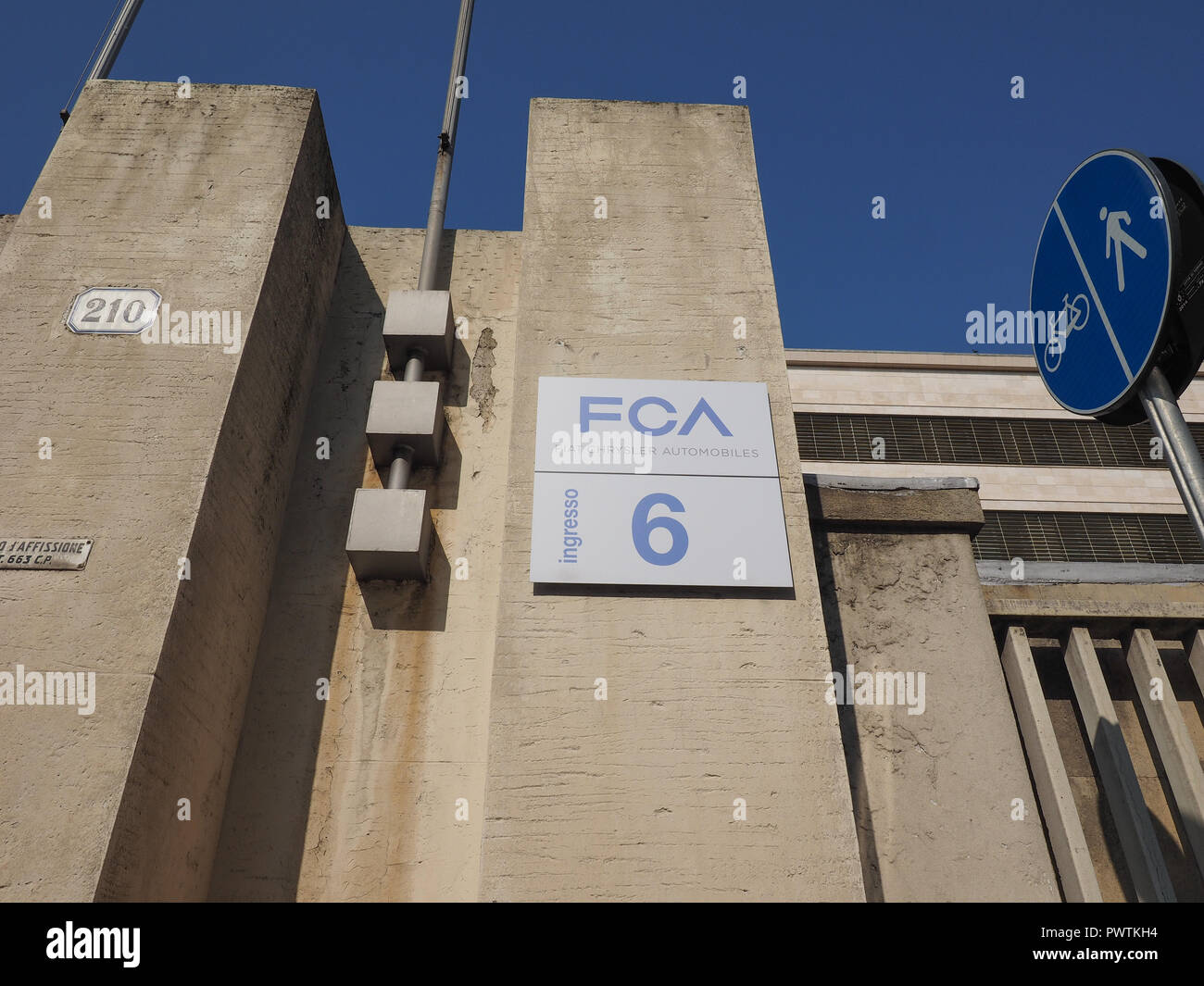TURIN, ITALY - CIRCA SEPTEMBER 2018: Fiat Chrysler Automobiles (FCA) Mirafiori car factory for Fiat, Lancia, Alfa Romeo, Jeep and Abarth brands - Stock Image