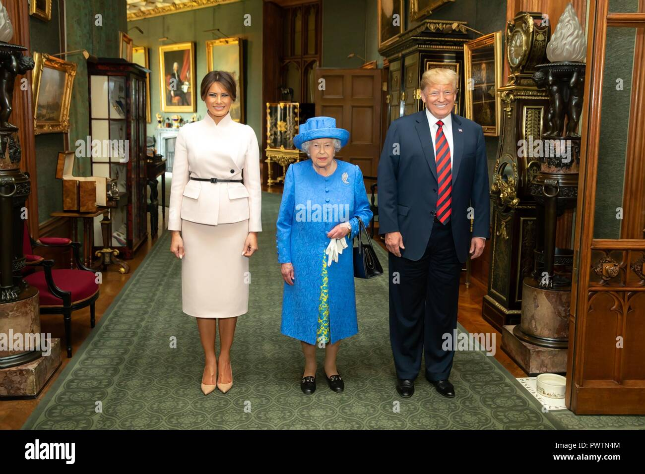 U.S First Lady Melania Trump, Her Majesty Queen Elizabeth II and President Donald Trump at Windsor Castle July 13, 2018 in Windsor, United Kingdom. Stock Photo