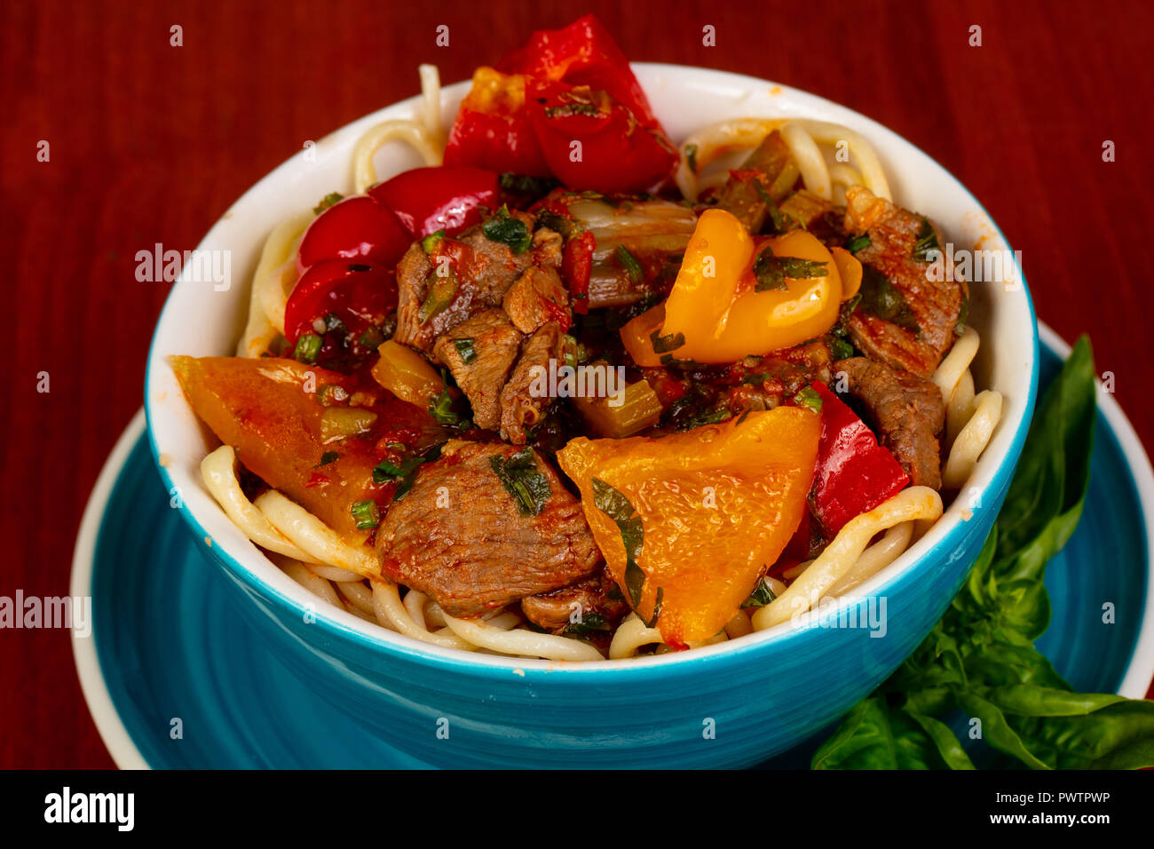 Usbek cuisine - lagman  with meat Stock Photo