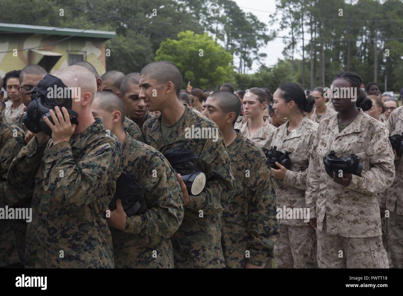 U S  Marine Corps recruits with Alpha Company, 1st Battalion
