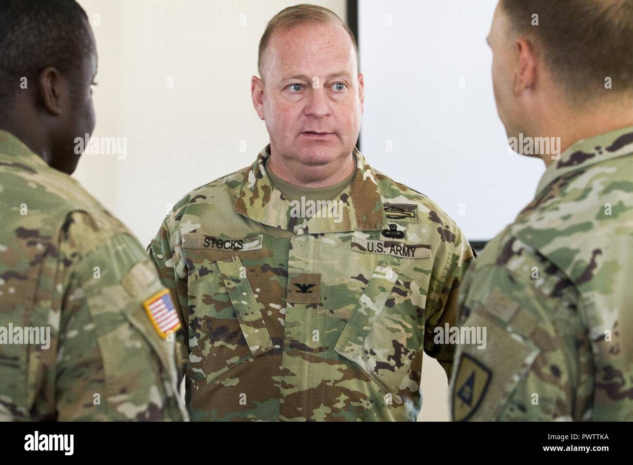 Michael Stocks Commander 91st Training Division Talks With Soldiers During An After Action Review On June 22nd 2017 Ft Hunter Liggett Calif