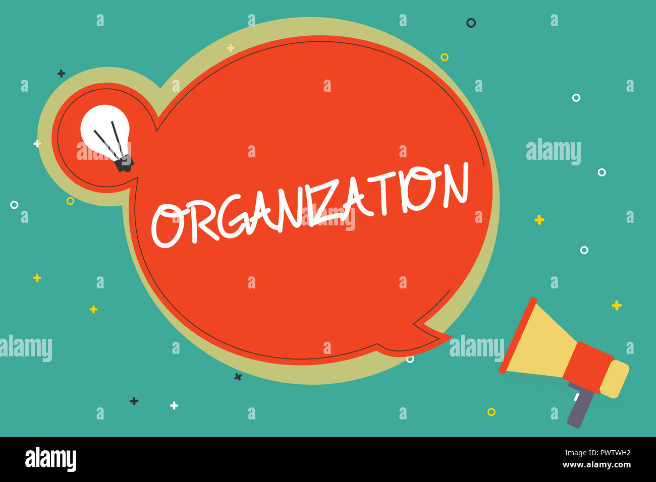 Text sign showing Organization. Conceptual photo Organized group of showing with a particular purpose Business. - Stock Image