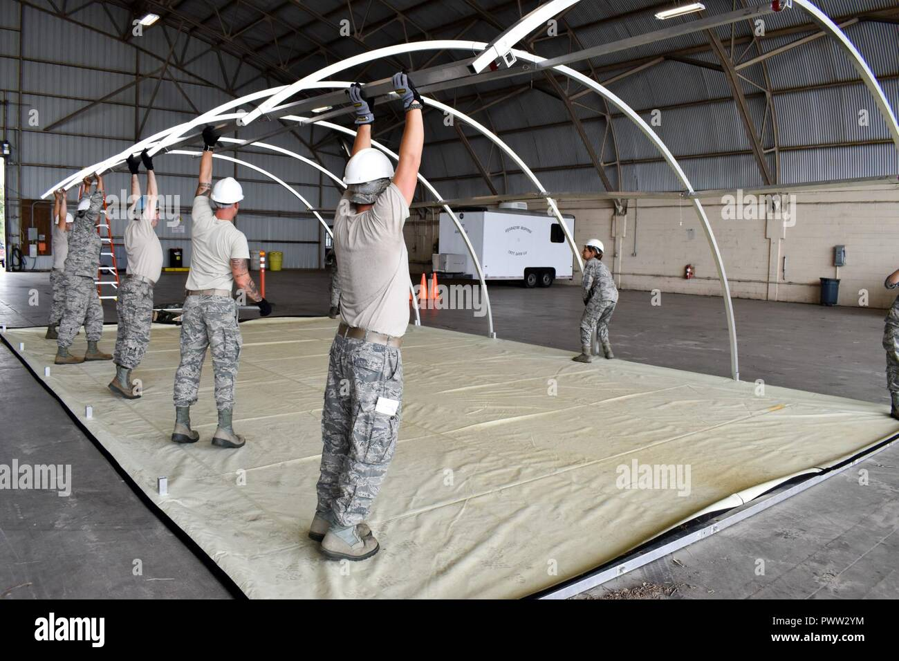 134th Services Flight Airmen, construct a temper tent during an