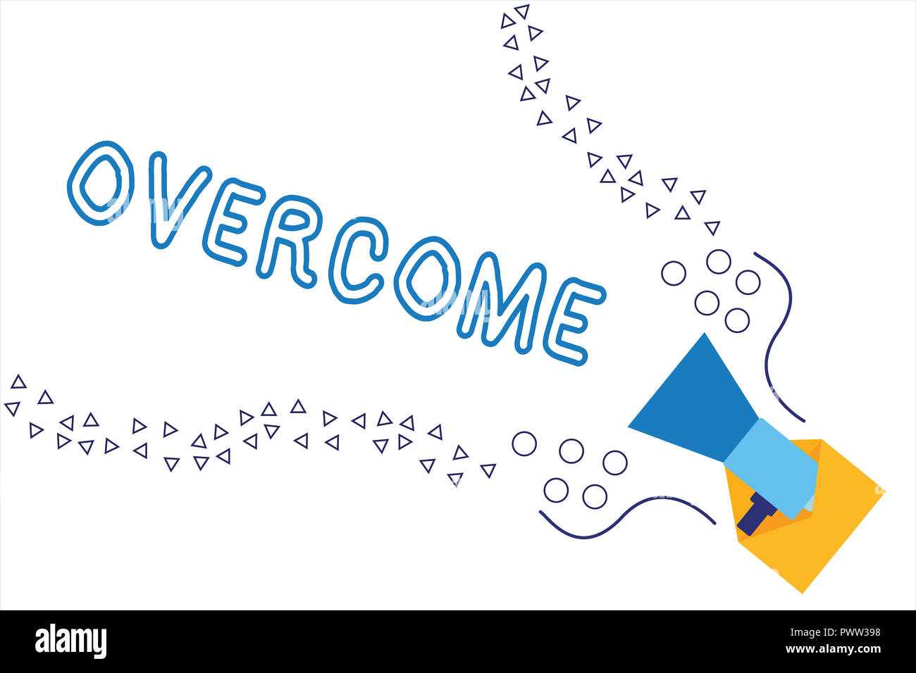 Word writing text Overcome. Business concept for succeed in dealing with problem or difficulty defeat opponent. - Stock Image