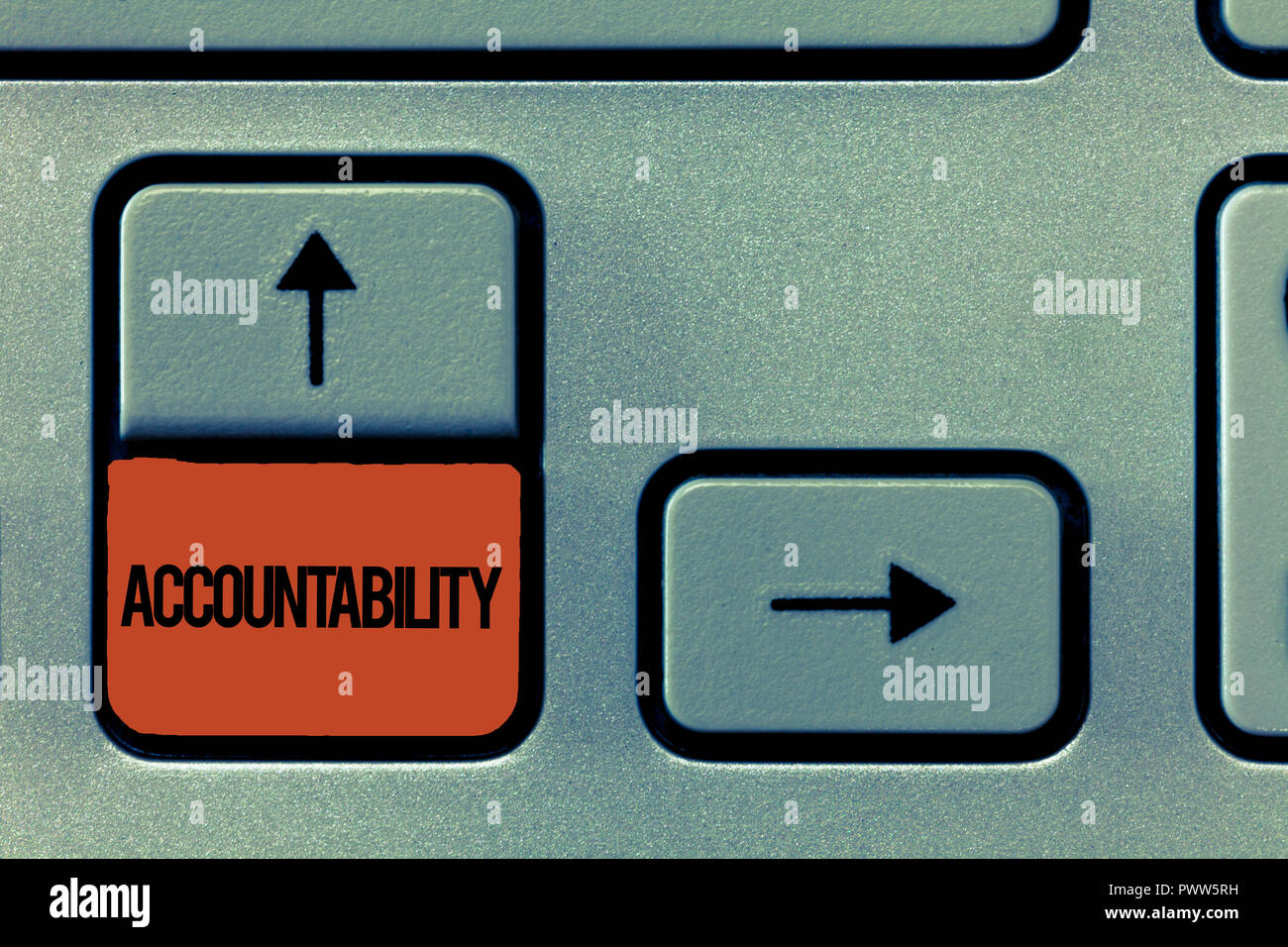 Handwriting text Accountability. Concept meaning State of being responsible Answerable for something. - Stock Image